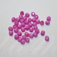 stkb00361-04 apie 4 mm, apvali forma, matinė, briaunuotas, rožinė spalva, stiklinis karoliukas, apie 86 vnt.