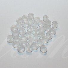 stkb00030/87110-06 apie 6 mm, apvali forma, skaidrus, matinis, briaunuotas, stiklinis karoliukas, 58 vnt.