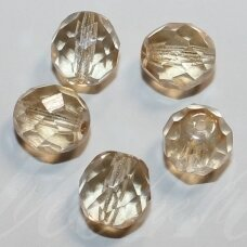 stkb00030/14413-10 about 10 mm, round shape, faceted, light yellow color, glass bead, about 14 pcs.