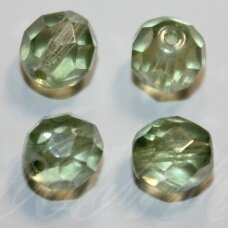 stkb00030/14457-08 about 8 mm, round shape, faceted, transparent, light green tint, about 24 pcs.