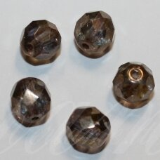 stkb00030/15695-10 about 10 mm, round shape, faceted, colourful, glass bead, about 12 pcs.