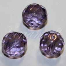 STKB00030/15726-10 apie 10 mm, apvali forma, briaunuotas, skaidrus, violetinė spalva, stiklinis karoliukas, 14 vnt.