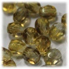 stkb00030/22501-10 about 10 mm, round shape, faceted, transparent, light brown color, 14 pcs.