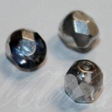 stkb00030/26601-06 apie 6 mm, apvali forma, briaunuotas, skaidrus, sidabrinė spalva, stiklinis karoliukas, 38 vnt.