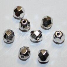 stkb00030/27000-06 apie 6 mm, apvali forma, briaunuotas, sidabrinė spalva, stiklinis karoliukas, apie 38 vnt.