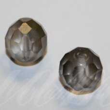 stkb00030/27401-12 apie 12 mm, apvali forma, briaunuotas, skaidrus, matinė, pilka spalva, stiklinis karoliukas, 7 vnt.