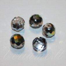 stkb00030/28001-04 apie 4 mm, apvali forma, briaunuotas, pusiau skaidrus, dūmo spalva, ab danga, stiklinis karoliukas, apie 70 vnt.