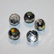 stkb00030/28001-12 apie 12 mm, apvali forma, briaunuotas, pusiau skaidrus, dūmo spalva, ab danga, stiklinis karoliukas, 9 vnt.