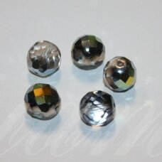 stkb00030/28001-12 apie 12 mm, apvali forma, briaunuotas, skaidrus, sidabrinė spalva, ab danga, 9 vnt.