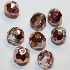 stkb00030/28009-08 apie 8 mm, apvali forma, briaunuotas, skaidri - vario spalva, ab danga, stiklinis karoliukas, apie 24 vnt.