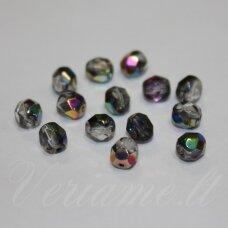 STKB00030/28101-04 apie 4 mm, apvali forma, briaunuotas, skaidrus, blizgi danga, stiklinis karoliukas, apie 70 vnt.