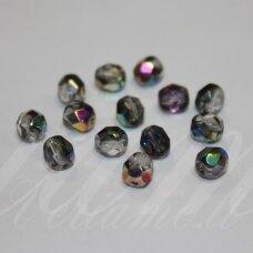 STKB00030/28101-10 apie 10 mm, apvali forma, briaunuotas, skaidrus, pusiau dengti folija, stikliniai karoliukai, 12 vnt.