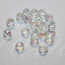 STKB00030/28701-10 apie 10 mm, apvali forma, briaunuotas, skaidrus, AB danga, stikliniai karoliukai, 15 vnt.