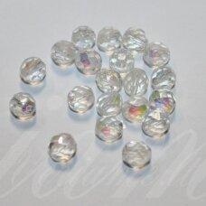 STKB00030/28701-12 apie 12 mm, apvali forma, briaunuotas, skaidrus, AB danga, stiklinis karoliukas, 8 vnt.