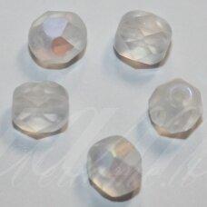 STKB00030/28771-06 apie 6 mm, apvali forma, briaunuotas, matinė, AB danga, stiklinis karoliukas, apie 40 vnt.