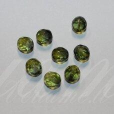 STKB00030/44659-08 apie 8 mm, apvali forma, briaunuotas, skaidrus, žalia spalva, stikliniai karoliukai, apie 22 vnt.