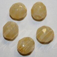 STKB00030/44714-08 apie 8 mm, apvali forma, briaunuotas, geltona spalva, stiklinis karoliukas, 19 vnt.