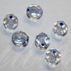 STKB00030/44836-08 apie 8 mm, apvali forma, briaunuotas, skaidrus, viduriukas melsva spalva, stiklinis karoliukas, 23 vnt.