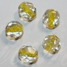 STKB00030/44886-08 apie 8 mm, apvali forma, briaunuotas, skaidrus, viduriukas, geltona spalva, stikliniai karoliukai, apie 19 vnt.