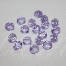 STKB00030/45015-06 apie 6 mm, apvali forma, briaunuotas, skaidrus, violetinė spalva, stiklinis karoliukas, apie 50 vnt.