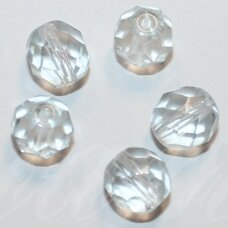 STKB00030/45041-08 apie 8 mm, apvali forma, briaunuotas, skaidrus, šviesi, melsvas atspalvis, stiklinis karoliukas, 32 vnt.