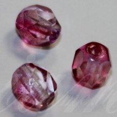 stkb00030/48020-06 apie 6 mm, apvali forma, briaunuotas, skaidrus, rožinė spalva, stiklinis karoliukas, 38 vnt.
