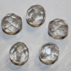 STKB00030/56901-08 apie 8 mm, apvali forma, briaunuotas, skaidrus, stiklinis karoliukas, 19 vnt.