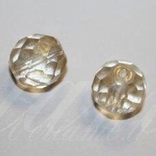 stkb00030/56902-12 apie 12 mm, apvali forma, briaunuotas, skaidrus, gelsva spalva, stiklinis karoliukas, 6 vnt.