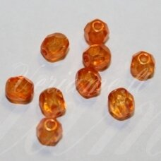 STKB00030/56994-04 apie 4 mm, apvali forma, briaunuotas, skaidrus, oranžinė spalva, stiklinis karoliukas, apie 64 vnt.