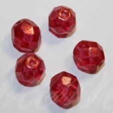 stkb00030/56998-04 apie 4 mm, apvali forma, briaunuotas, skaidrus, šviesi, raudona spalva, stiklinis karoliukas, apie 70 vnt.