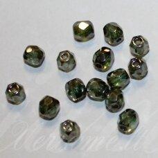 stkb00030/65431-12 apie 12 mm, apvali forma, briaunuotas, skaidrus, žalsva spalva, stiklinis karoliukas, apie 8 vnt.