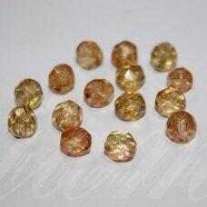 stkb00030/86800-08 apie 8 mm, apvali forma, briaunuotas, skaidrus, rusva spalva, marga, 23 vnt.