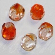 stkb00030/90040-06 apie 6 mm, apvali forma, briaunuotas, skaidrus, oranžinė spalva, stiklinis karoliukas, apie 44 vnt.