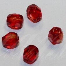 stkb00030/90080-06 apie 6 mm, apvali forma, briaunuotas, skaidrus, raudona spalva, stiklinis karoliukas, apie 46 vnt.