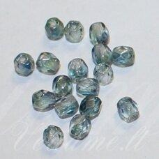 stkb00030/91007-06 apie 6 mm, apvali forma, briaunuotas, skaidrus, melsva spalva, stiklinis karoliukas, apie 49 vnt.