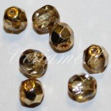 stkb00030/97387-04 apie 4 mm, apvali forma, briaunuotas, auksinė spalva, stiklinis karoliukas, apie 95 vnt.