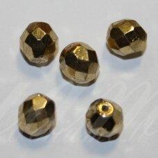 STKB00030/97487-04 apie 4 mm, apvali forma, briaunuotas, auksinė spalva, stiklinis karoliukas, apie 80 vnt.