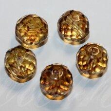 stkb00036-14 apie 14 mm, apvali forma, briaunuotas, skaidrus, gelsva spalva, stiklinis karoliukas, 6 vnt.