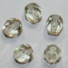 stkb00040-06 apie 6 mm, apvali forma, briaunuotas, skaidrus, gelsva spalva, stiklinis karoliukas, 52 vnt.