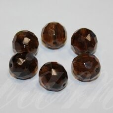 stkb00046-12 apie 12 mm, apvali forma, briaunuotas, skaidrus, tamsi, ruda spalva, stiklinis karoliukas, 9 vnt.