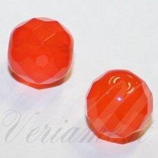 STKB00049-10 apie 10 mm, apvali forma, briaunuotas, oranžinė spalva, stikliniai karoliukai, 10 vnt.