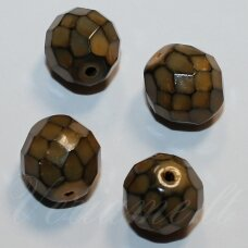 stkb00063-12 apie 12 mm, apvali forma, briaunuotas, ruda spalva, stiklinis karoliukas, 9 vnt.