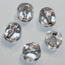 stkb00075-04 apie 4 mm, apvali forma, briaunuotas, skaidrus, viduriukas su folija, stiklinis karoliukas, 70 vnt.