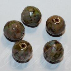 stkb00097-12 apie 12 mm, apvali forma, briaunuotas, marga, stiklinis karoliukas, 8 vnt.