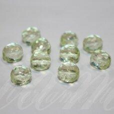 stkb00117-08 apie 8 mm, apvali forma, briaunuotas, skaidrus, salotinis atspalvis, stiklinis karoliukas, 32 vnt.