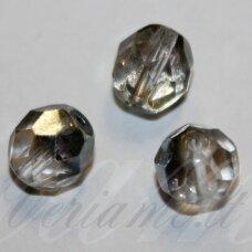stkb00118-06 apie 6 mm, apvali forma, briaunuotas, skaidrus, ab danga, stiklinis karoliukas, apie 40 vnt.