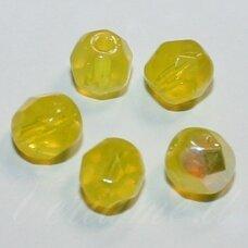 stkb00124-06 apie 6 mm, apvali forma, briaunuotas, geltona spalva, ab danga, apie 52 vnt.