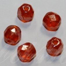 stkb00125-06 apie 6 mm, apvali forma, briaunuotas, oranžinė spalva, apie 52 vnt.
