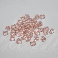 stkb00139-04 apie 4 mm, apvali forma, briaunuotas, skaidrus, rožinė spalva, stiklinis karoliukas, apie 110 vnt.