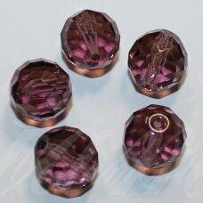 stkb00144-14 apie 14 mm, apvali forma, briaunuotas, skaidrus, violetinė spalva, stiklinis karoliukas, 6 vnt.